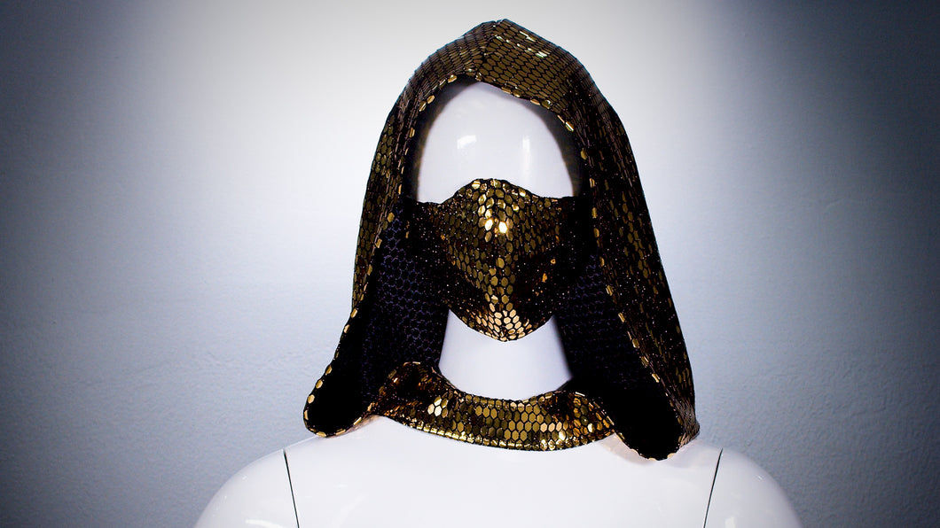 Gold Sequins Hoodie Head Cover Washable and Reusable - BACCIO Couture