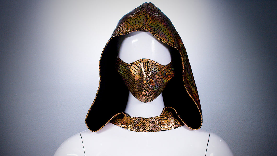 Gold Reptile Hoodie Head Cover Washable and Reusable - BACCIO Couture