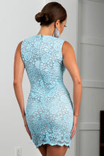 Load image into Gallery viewer, Helly Stretch Lace Aqua Cocktail Dress - BACCIO Couture