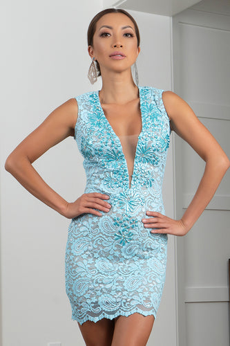 Helly Stretch Lace AQUA Short Cocktail Dress - BACCIO Couture