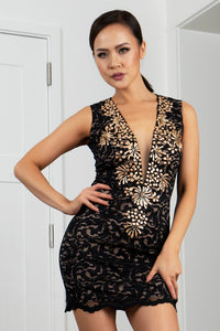 Helly Black Gold Stretch Lace Short Cocktail Dress - BACCIO Couture