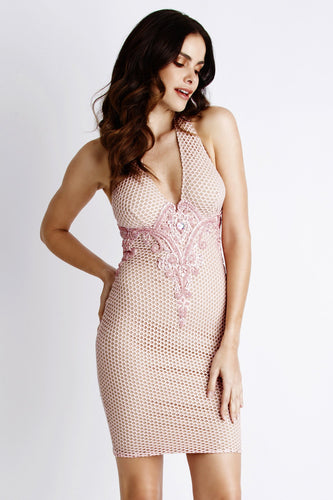 Ivonne Pink Caviar Short Cocktail Dress - BACCIO Couture