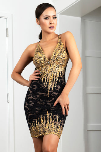 Jady Black Gold Stretch Lace Cocktail Dress - Short Dress - BACCIO Couture