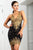 Jady Stretch Lace Cocktail Dress Black Gold Color