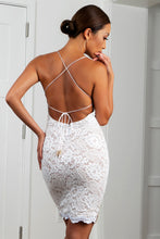 Load image into Gallery viewer, Jady White Gold Stretch Lace Cocktail Dress - Short Dress - BACCIO Couture