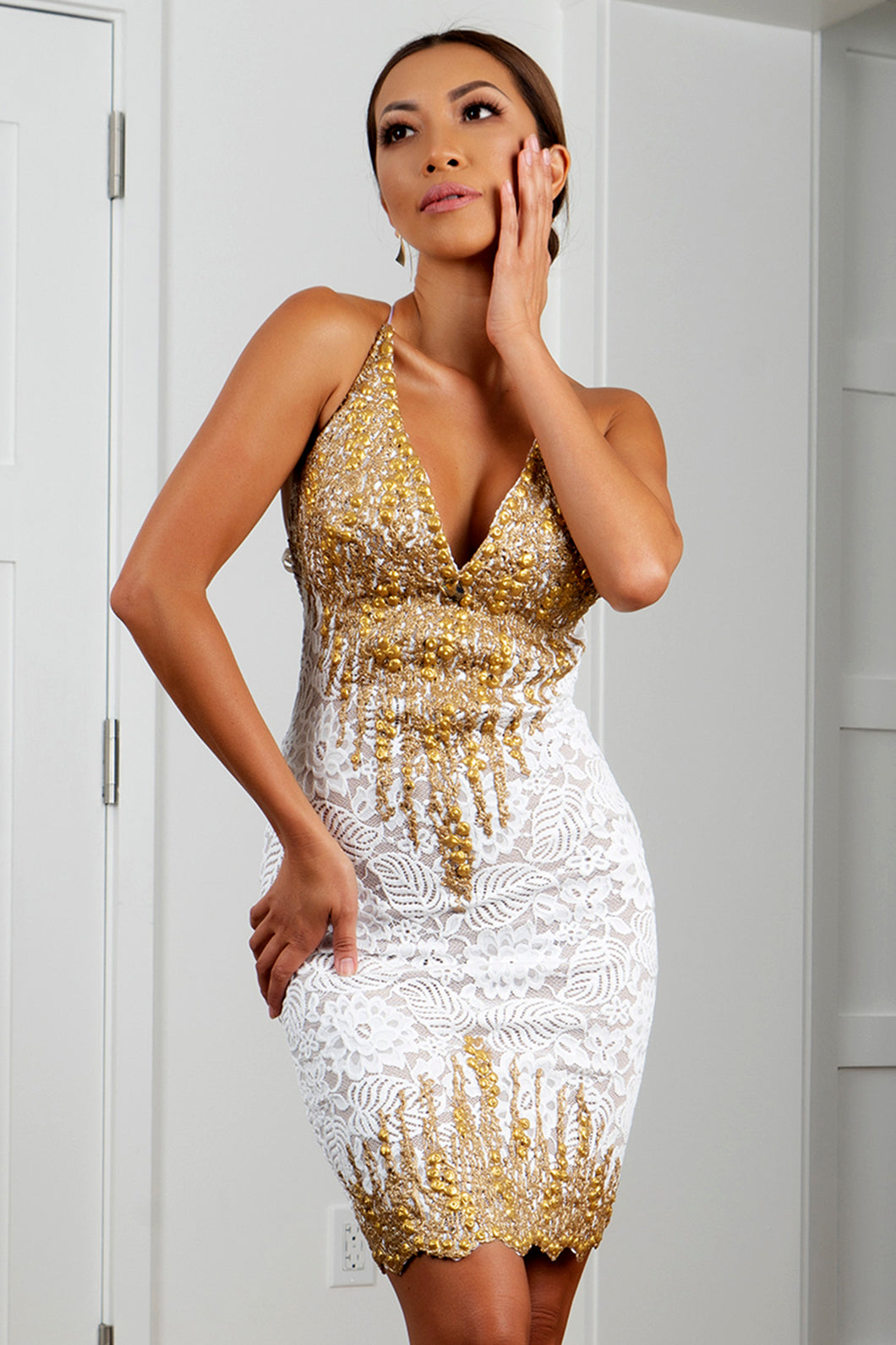Jady White Gold Stretch Lace Cocktail Dress - Short Dress - BACCIO Couture