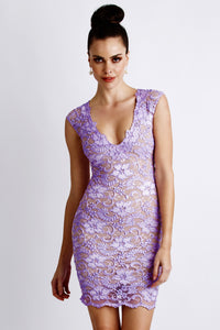 Jaz Purple Lace Cocktail Dress - Short Dress - BACCIO Couture