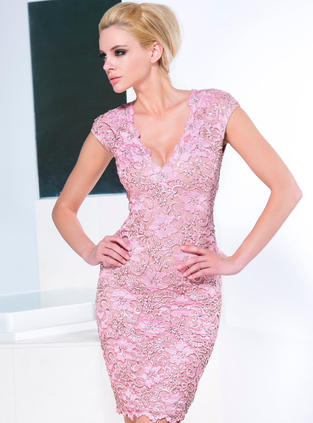 Jaz Rose Mix Short Cocktail Dress - BACCIO Couture