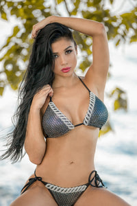 Jessy Metallic Bikini Black & Silver. Beach Fashion Swimwear - BACCIO Couture