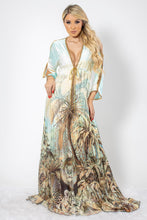 Load image into Gallery viewer, Jungle Print in Silk with Gold Crystals Long Dress - BACCIO Couture