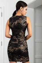 Load image into Gallery viewer, Kamy Black & Gold Stretch Lace Cocktail Dress - Short Dress - BACCIO Couture