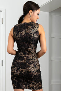 Kamy Black & Gold Stretch Lace Cocktail Dress - Short Dress - BACCIO Couture