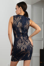 Load image into Gallery viewer, Kamy Navy Platinum Stretch Lace Cocktail Dress - Short Dress - BACCIO Couture