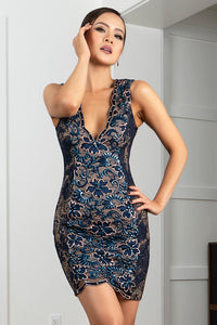 Kamy Navy Platinum Stretch Lace Cocktail Dress - Short Dress - BACCIO Couture