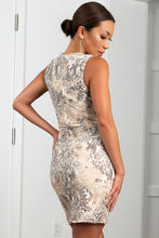 Load image into Gallery viewer, Kamy Ivory Charcoal Stretch Lace Cocktail Dress - Short Dress - BACCIO Couture