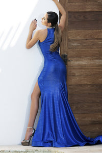 Metallic Blue Long Dress. Handpainted gowns near miami. Party dresses for sale. Handmade long cocktail event dresses. Cocktail party long blue dresses for woman. Latest Miami fashion long dresses and gowns for sale.