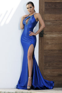 Linda Metallic Blue Long Dress - Miami Gowns Design - BACCIO Couture