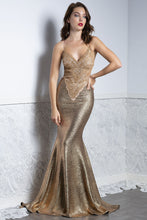 Load image into Gallery viewer, Liz Gold Caviar Handmade Gowns - Long Dress - BACCIO Couture
