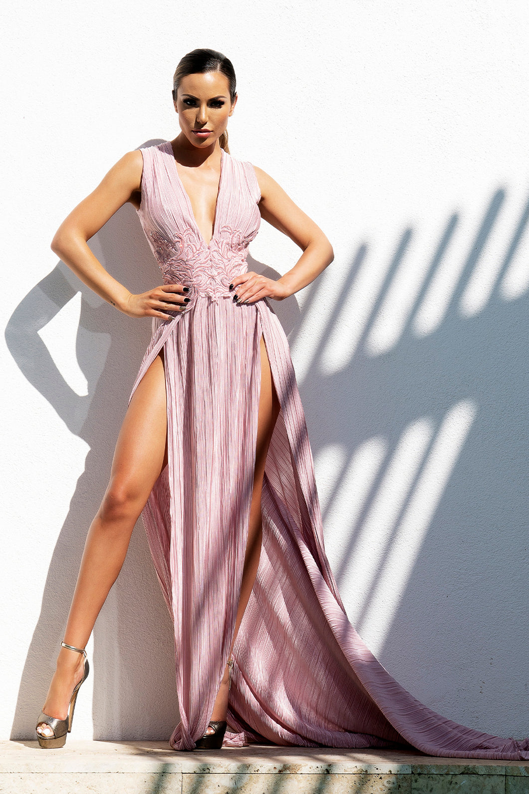 Lulu Wrinkle Pink Long Dress - Miami Gowns Design - BACCIO Couture