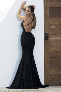 Luz Sequin Black Platinum Long Dress - Miami Gowns Design - BACCIO Couture