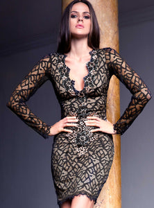 Letty Lace Black Mix Cocktail Dress - Short Dress - BACCIO Couture