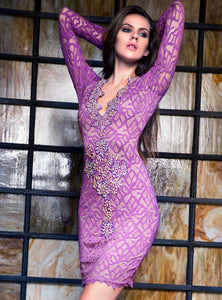 Letty Purple Magenta Lace Cocktail Dress - Short Dress - BACCIO Couture