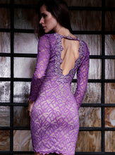 Load image into Gallery viewer, Letty Purple Magenta Lace Cocktail Dress - Short Dress - BACCIO Couture