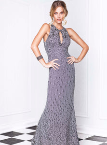 Lidia Platinum Stretch Lace Hand-painted  Long Dress - BACCIO Couture