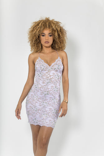 Naylet Full Crystal Lilac Cocktail Dress - BACCIO Couture