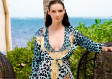 Load image into Gallery viewer, Lula Silk Cover Up Aqua Leopard