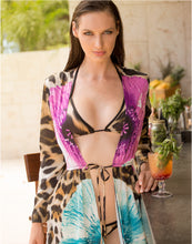 Load image into Gallery viewer, Lula Silk Cover Up Brown Leopard