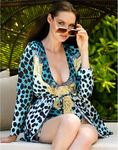 Lula Silk Cover Up Aqua Leopard