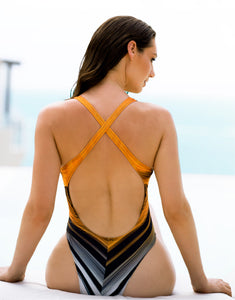 Lula One Piece Orange Lines