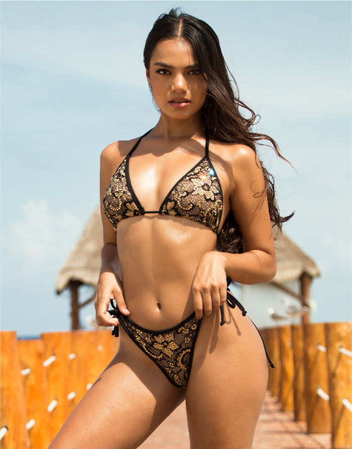 Linda Bikini Set Full Crystal Black-Gold