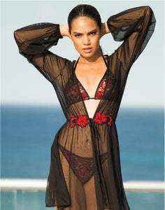 Lula Mesh Cover Up Crystal Black-Red