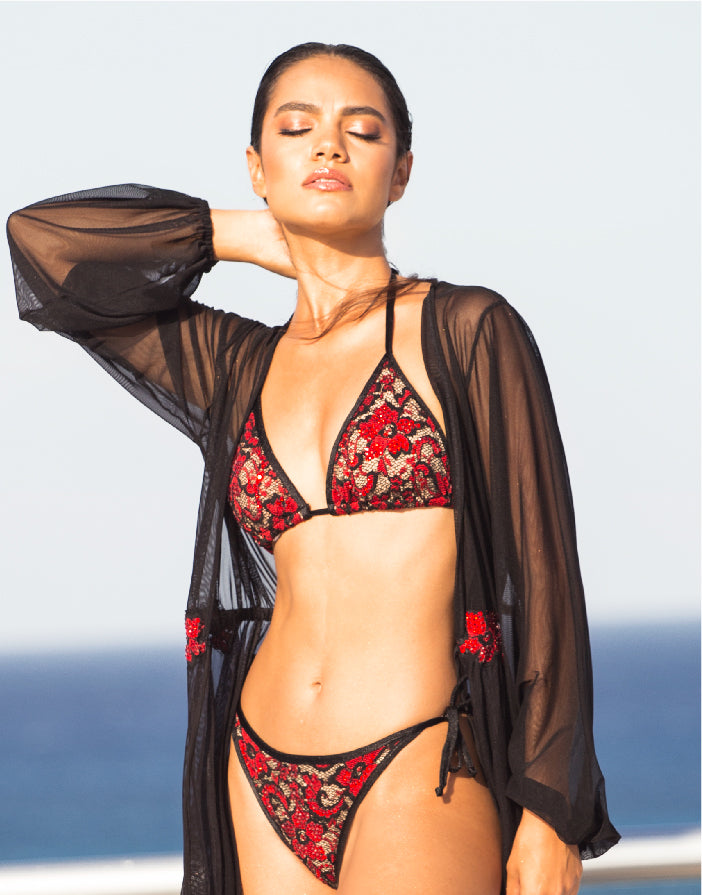 Linda Bikini Set Full Crystal Black-Red
