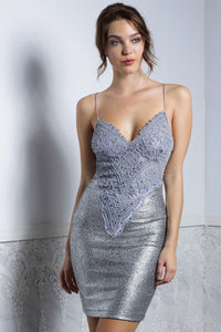 LIZ Platinum Cocktail Dress - Short Dress - BACCIO Couture