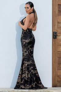 Lorena Crystal Black & Gold Long Dress. Handpainted Gowns - BACCIO Couture