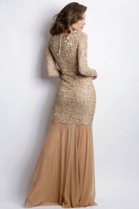 Analia Painted Caviar Champagne Long Dress. Gowns - BACCIO Couture