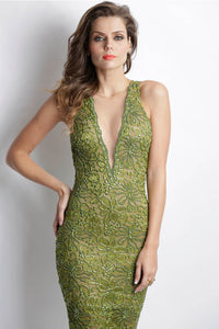 Alitze Painted Caviar Green Mosh Cocktail Dress. Short Party Prom Dress - BACCIO Couture