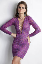 Load image into Gallery viewer, Analia Painted Purple Short Cocktail Dress perfect for Prom - BACCIO Couture