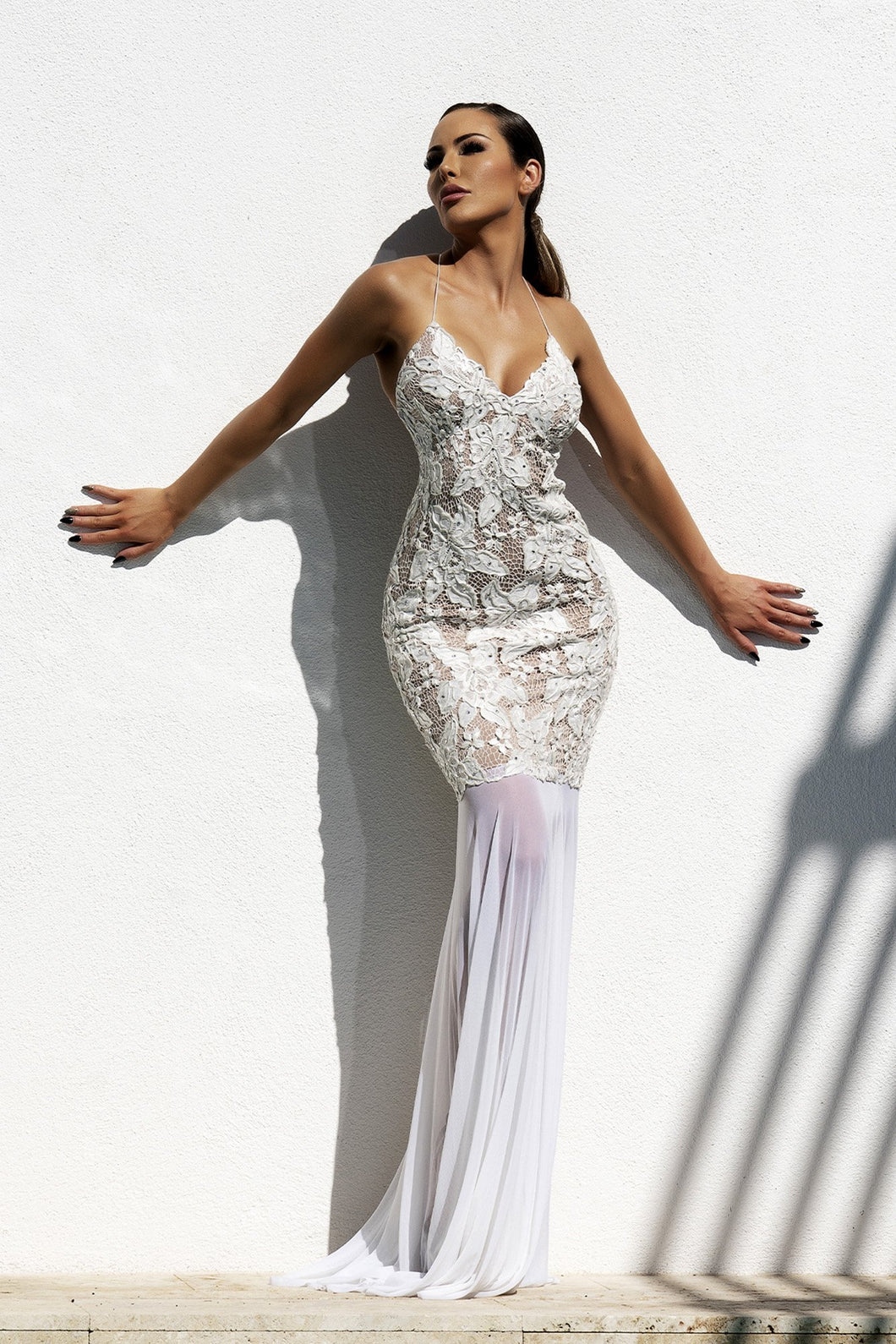 Maluz White Handpainted Long Dress - Miami Gowns Design - BACCIO Couture