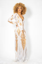 Load image into Gallery viewer, Maesa Gold and White Sequins White Long Dress - BACCIO Couture