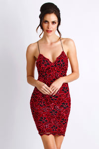 Magda Caviar Black Red Cocktail Dress - Short Dress - BACCIO Couture
