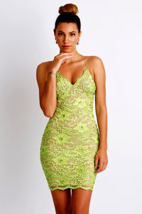 Magda Caviar Ligth Green Cocktail Dress - Short Dress - BACCIO Couture