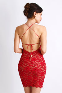 Magda Caviar Red Cocktail Dress - Short Dress - BACCIO Couture
