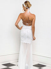 Load image into Gallery viewer, Magda White Stretch Lace Handpainted Gowns - Long Dress - BACCIO Couture