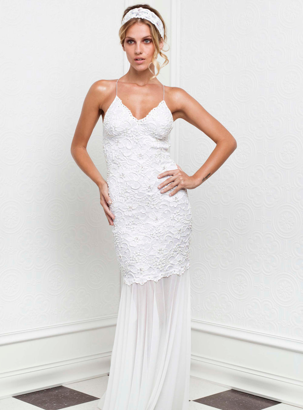 Magda White Stretch Lace Handpainted Gowns - Long Dress - BACCIO Couture