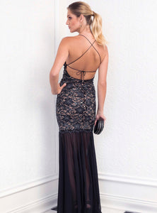 Magda Black Stretch Lace Handpainted Gowns - Long Dress - BACCIO Couture