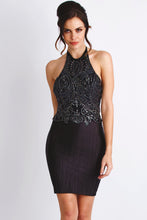 Load image into Gallery viewer, Marcella Black Caviar Short Dress - Cocktail Dress - BACCIO Couture